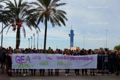 Pancarta de la Asociación GEA, de mujeres cooperativistas, durante la manifestación del 19N en Almería