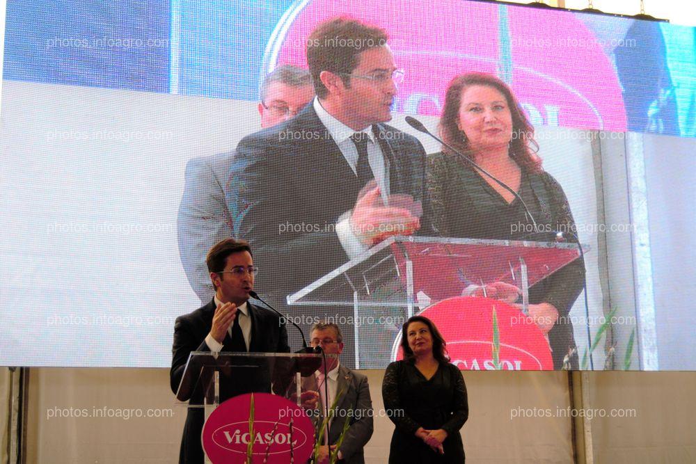 Francisco Góngora, alcalde de El Ejido, durante su discurso en el acto de inauguración de las instalaciones de Vicasol 3 El Ejido