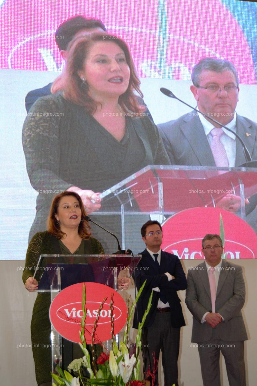 Carmen Crespo, consejera de Agricultura de la Junta de Andalucía, durante su discurso en el acto de inauguración de Vicasol 3 El Ejido