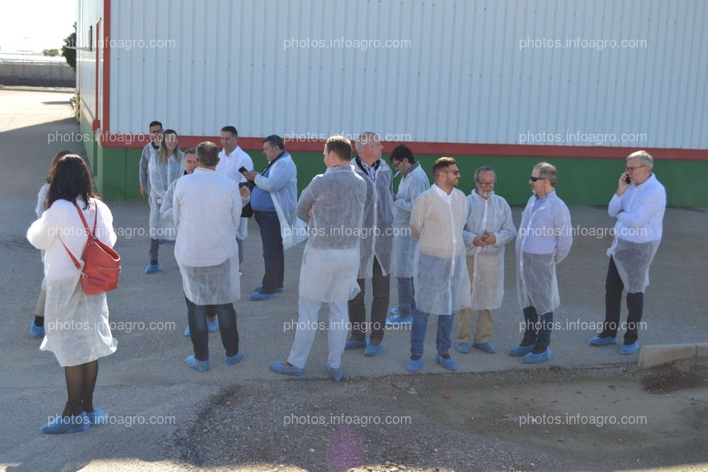 Periodistas que acudieron a la visita al centro de Koppert en Águilas, durante una de las explicaciones